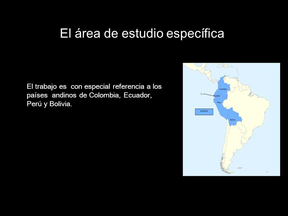 El área de estudio específica El trabajo es con especial referencia a los países andinos de Colombia, Ecuador, Perú y Bolivia..