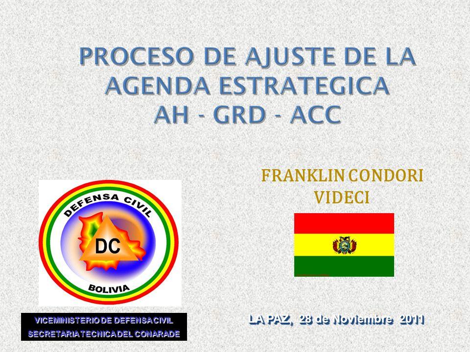 PROCESO DE AJUSTE DE LA AGENDA ESTRATEGICA AH - GRD - ACC LA PAZ, 28 de Noviembre 2011 FRANKLIN CONDORI VIDECI VICEMINISTERIO DE DEFENSA CIVIL SECRETA