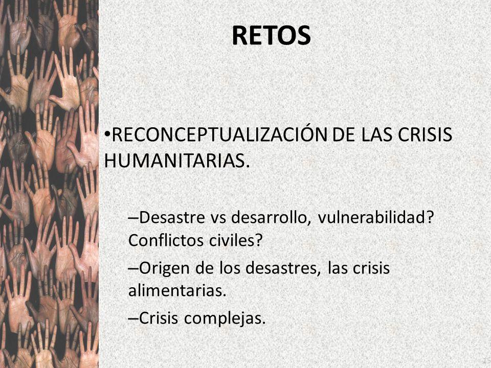 15 RETOS RECONCEPTUALIZACIÓN DE LAS CRISIS HUMANITARIAS. – Desastre vs desarrollo, vulnerabilidad? Conflictos civiles? – Origen de los desastres, las
