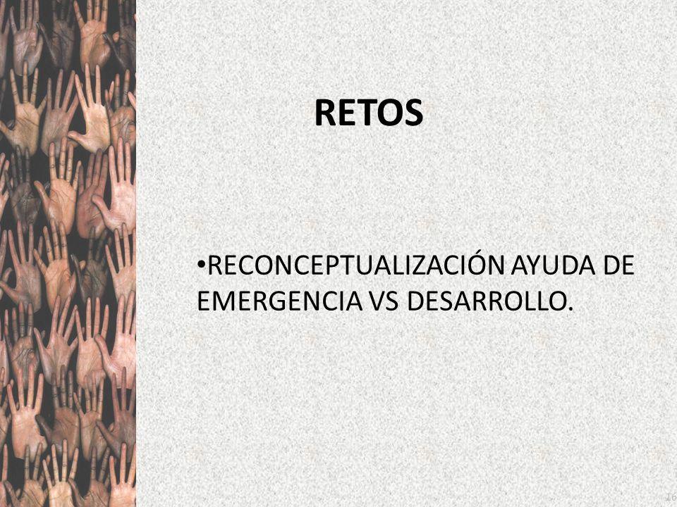 16 RETOS RECONCEPTUALIZACIÓN AYUDA DE EMERGENCIA VS DESARROLLO.