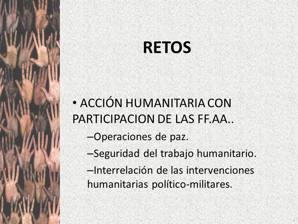 17 RETOS ACCIÓN HUMANITARIA CON PARTICIPACION DE LAS FF.AA.. – Operaciones de paz. – Seguridad del trabajo humanitario. – Interrelación de las interve