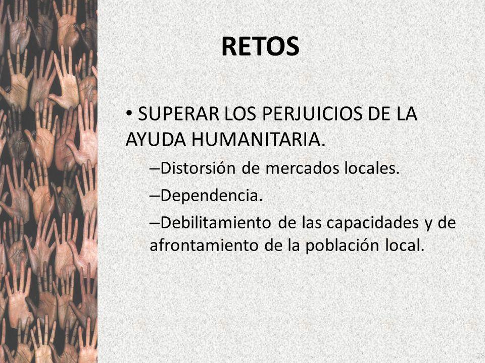 18 RETOS SUPERAR LOS PERJUICIOS DE LA AYUDA HUMANITARIA. – Distorsión de mercados locales. – Dependencia. – Debilitamiento de las capacidades y de afr