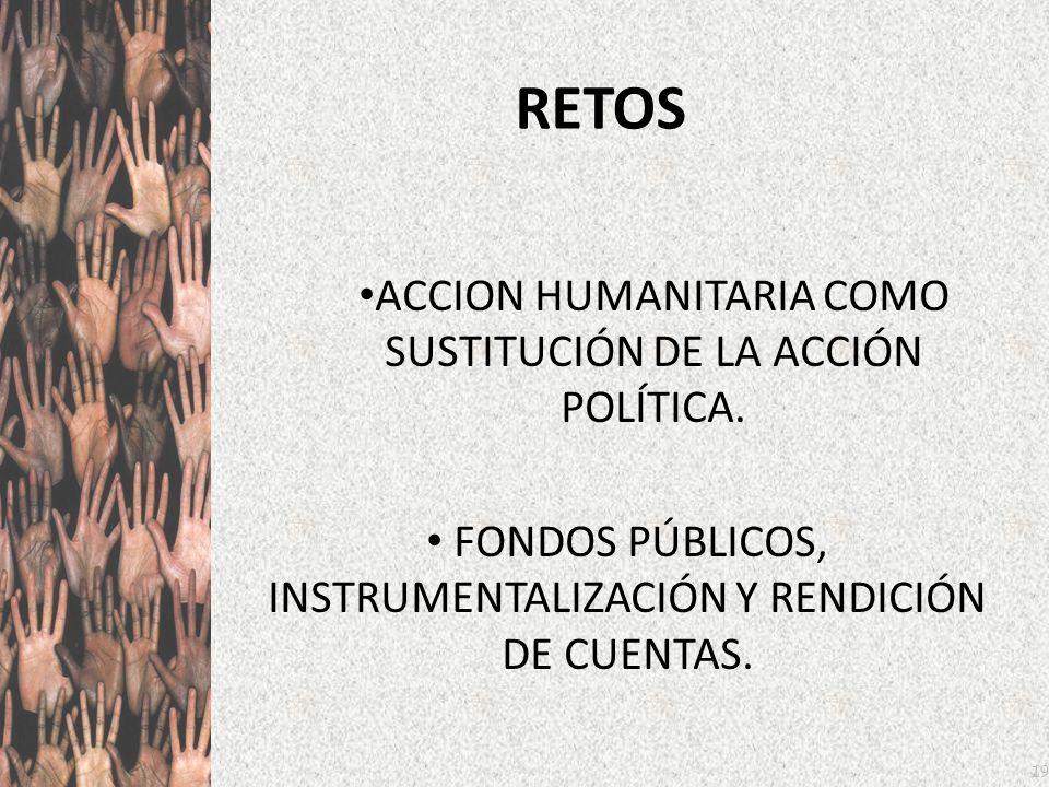 19 RETOS ACCION HUMANITARIA COMO SUSTITUCIÓN DE LA ACCIÓN POLÍTICA. FONDOS PÚBLICOS, INSTRUMENTALIZACIÓN Y RENDICIÓN DE CUENTAS.