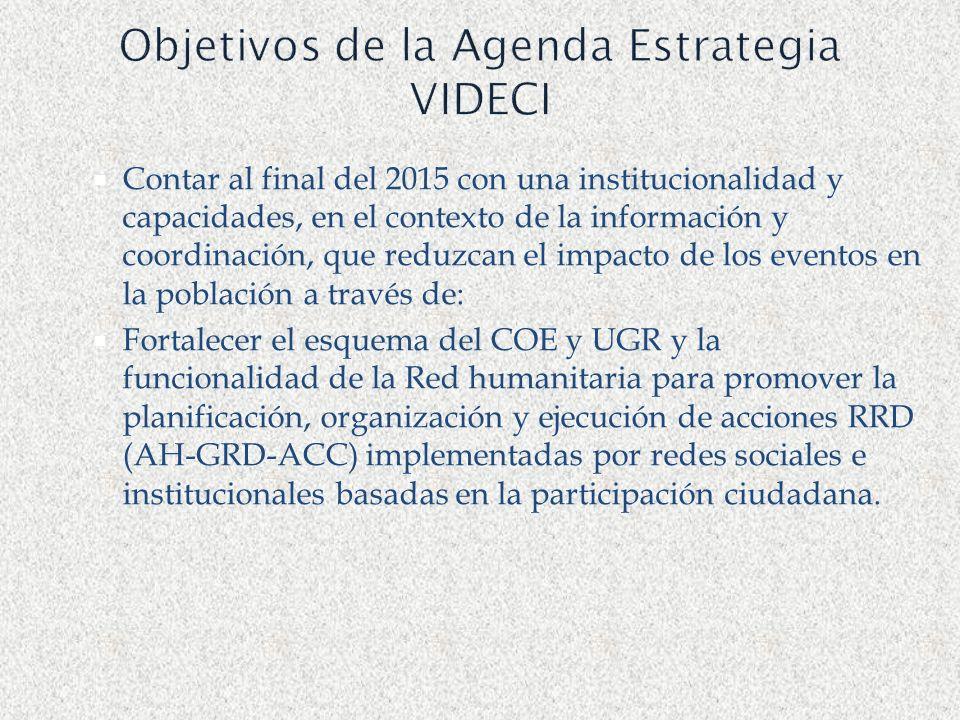 Objetivos de la Agenda Estrategia VIDECI Contar al final del 2015 con una institucionalidad y capacidades, en el contexto de la información y coordina
