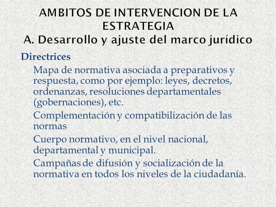 AMBITOS DE INTERVENCION DE LA ESTRATEGIA A. Desarrollo y ajuste del marco jurídico Directrices Mapa de normativa asociada a preparativos y respuesta,