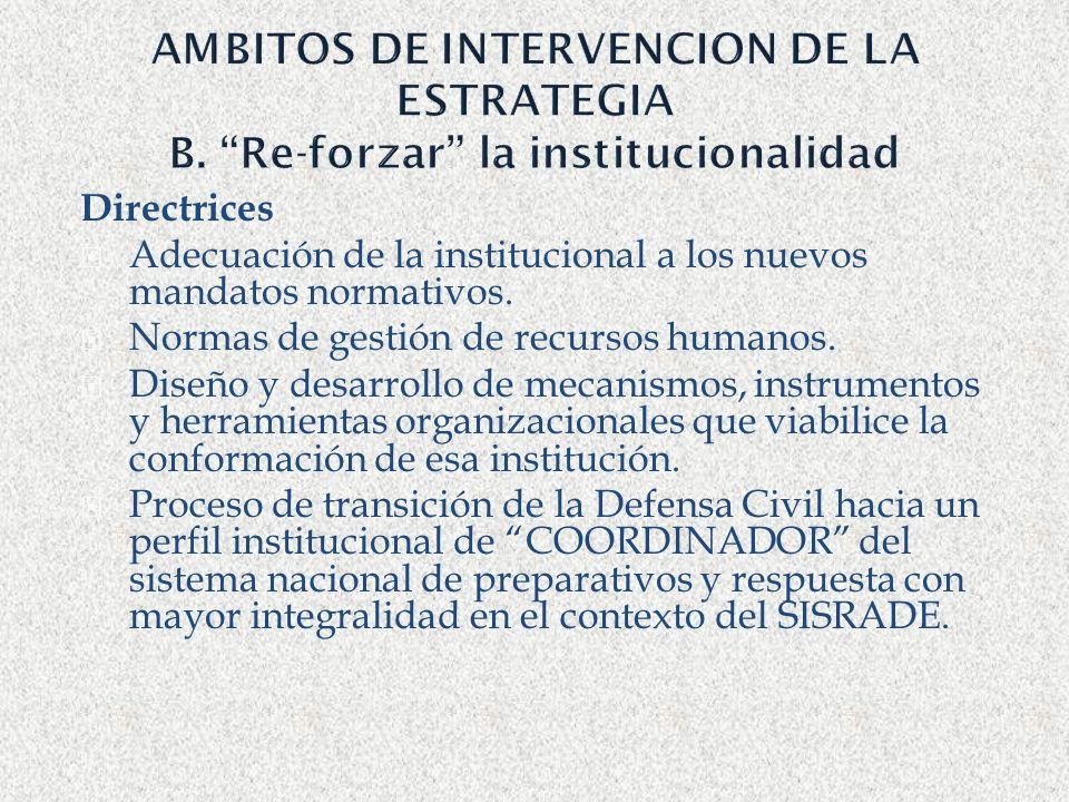 AMBITOS DE INTERVENCION DE LA ESTRATEGIA B. Re-forzar la institucionalidad Directrices Adecuación de la institucional a los nuevos mandatos normativos