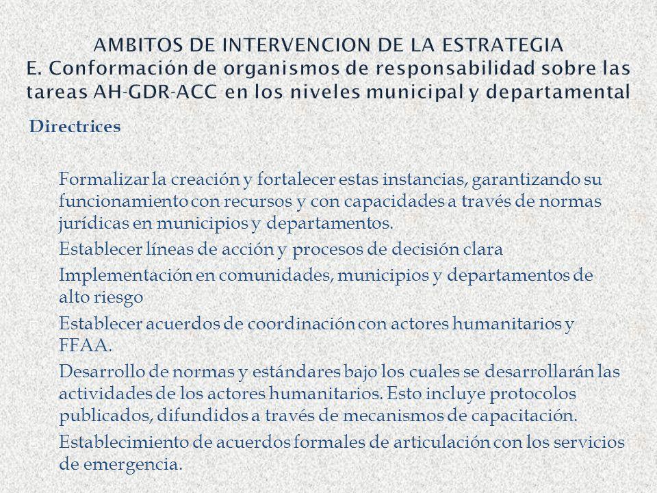 AMBITOS DE INTERVENCION DE LA ESTRATEGIA E. Conformación de organismos de responsabilidad sobre las tareas AH-GDR-ACC en los niveles municipal y depar