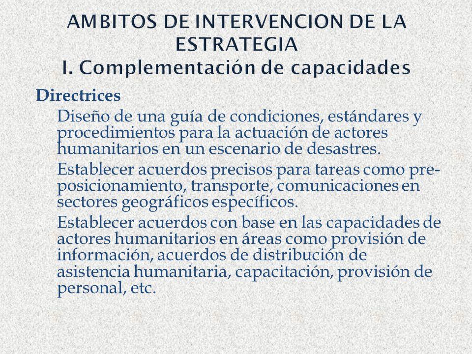AMBITOS DE INTERVENCION DE LA ESTRATEGIA I. Complementación de capacidades Directrices Diseño de una guía de condiciones, estándares y procedimientos
