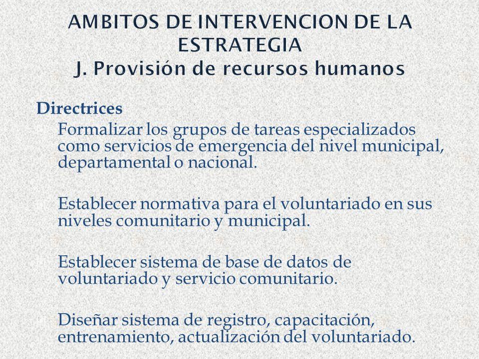 AMBITOS DE INTERVENCION DE LA ESTRATEGIA J. Provisión de recursos humanos Directrices Formalizar los grupos de tareas especializados como servicios de