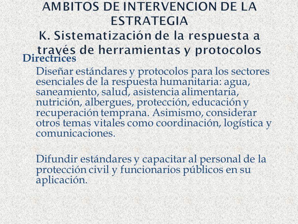 AMBITOS DE INTERVENCION DE LA ESTRATEGIA K. Sistematización de la respuesta a través de herramientas y protocolos Directrices Diseñar estándares y pro