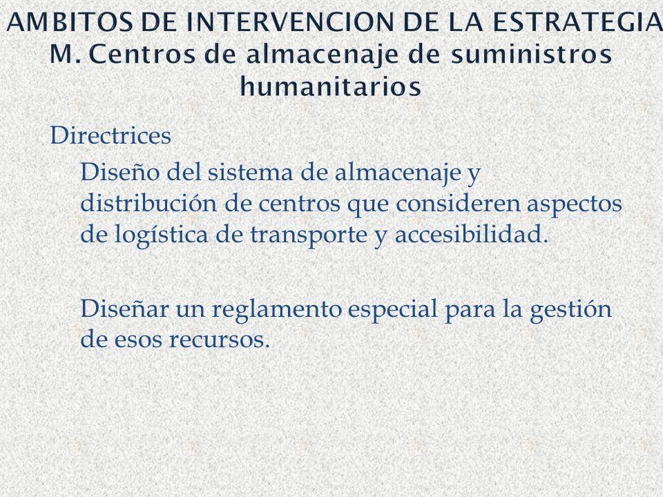 AMBITOS DE INTERVENCION DE LA ESTRATEGIA M. Centros de almacenaje de suministros humanitarios Directrices Diseño del sistema de almacenaje y distribuc
