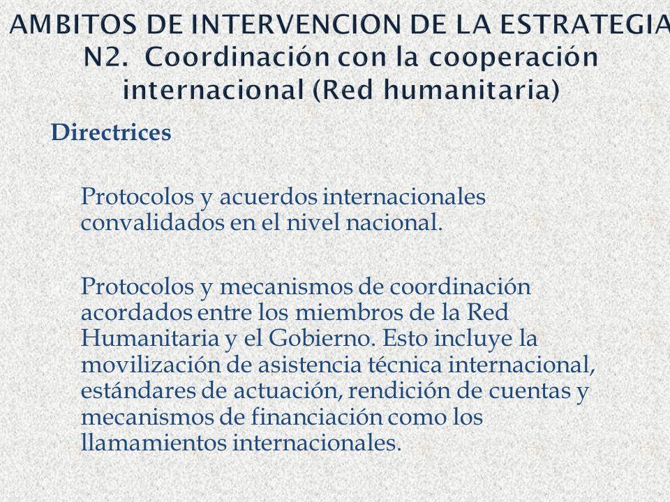 AMBITOS DE INTERVENCION DE LA ESTRATEGIA N2. Coordinación con la cooperación internacional (Red humanitaria) Directrices Protocolos y acuerdos interna