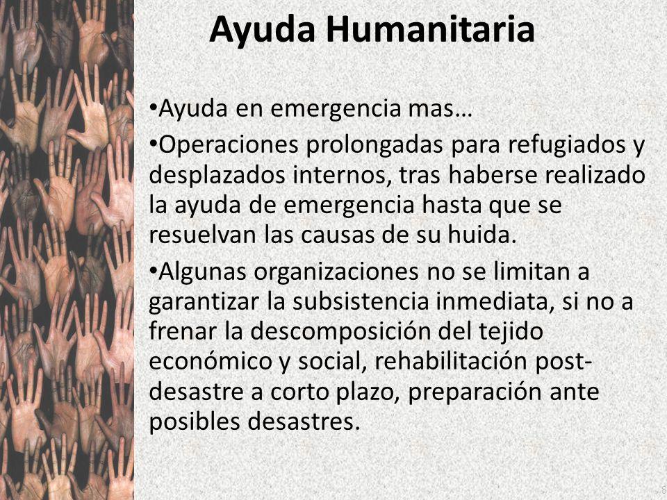 8 Ayuda Humanitaria Ayuda en emergencia mas… Operaciones prolongadas para refugiados y desplazados internos, tras haberse realizado la ayuda de emerge