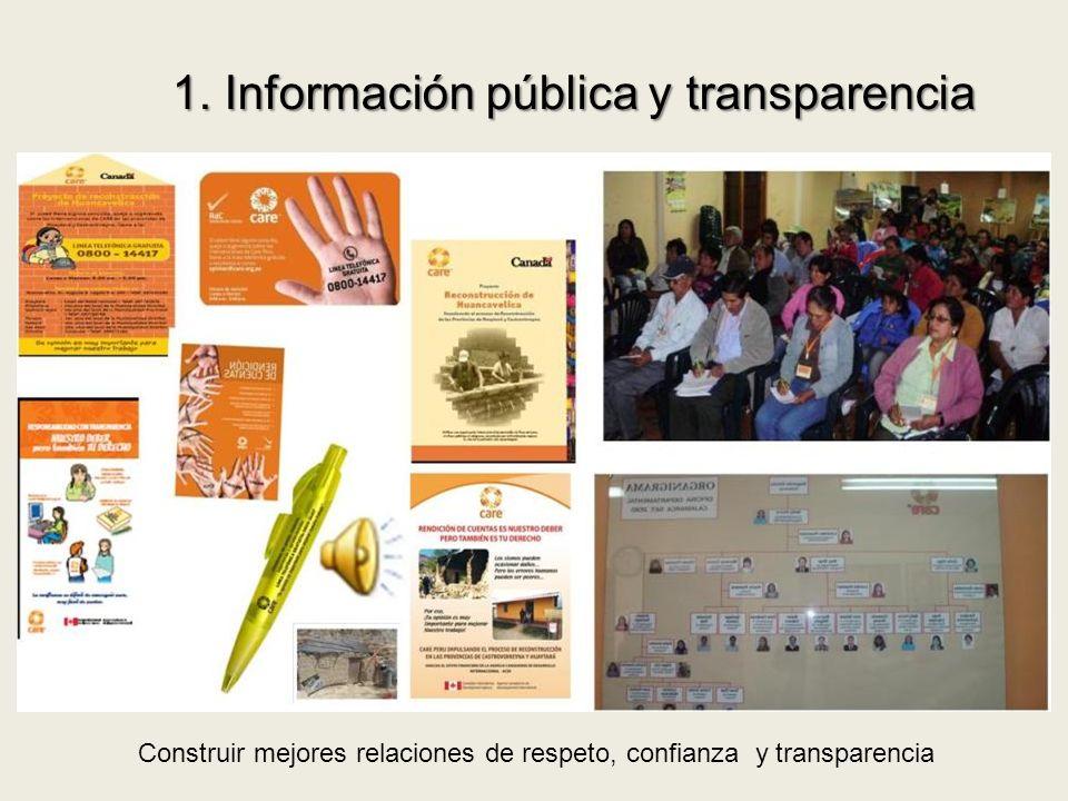 1. Información pública y transparencia Construir mejores relaciones de respeto, confianza y transparencia