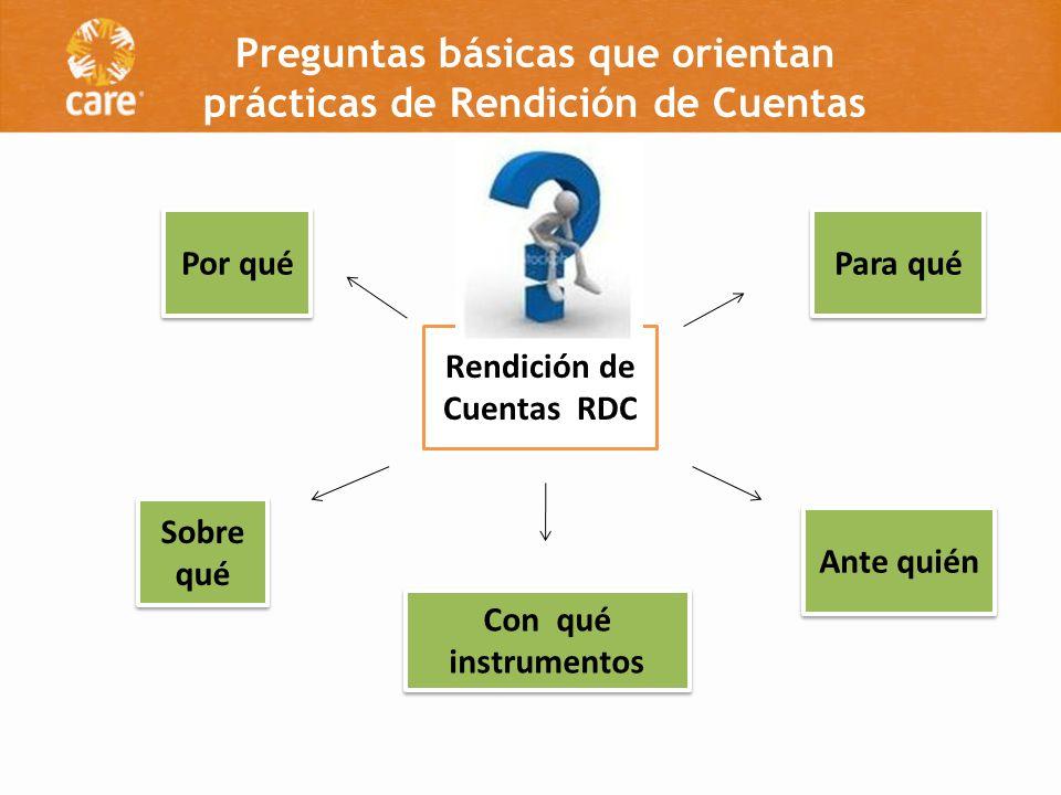 Rendición de Cuentas RDC Por qué Para qué Sobre qué Ante quién Con qué instrumentos Preguntas básicas que orientan prácticas de Rendición de Cuentas