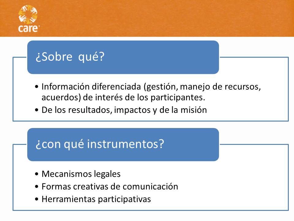 Información diferenciada (gestión, manejo de recursos, acuerdos) de interés de los participantes. De los resultados, impactos y de la misión ¿Sobre qu