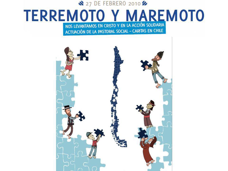 LA CATÁSTROFE A las 3:34 AM del sábado 27 de febrero del 2010, un fuerte terremoto 8,8 grados en la escala de Richter (IX en Mercalli) y posterior maremoto afectó a gran parte de la zona centro sur de Chile, desde la Región de Valparaíso hasta la de la Araucanía (147.392 km2), donde residen más de 12.880.000 habitantes, que corresponde al 75% de la población de nuestro país.