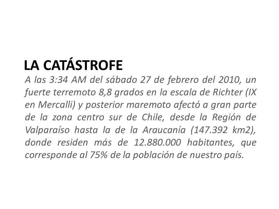 LA CATÁSTROFE A las 3:34 AM del sábado 27 de febrero del 2010, un fuerte terremoto 8,8 grados en la escala de Richter (IX en Mercalli) y posterior mar