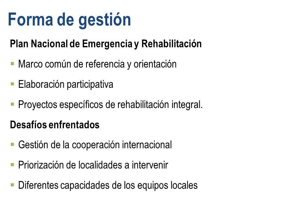 Forma de gestión Plan Nacional de Emergencia y Rehabilitación Marco común de referencia y orientación Elaboración participativa Proyectos específicos