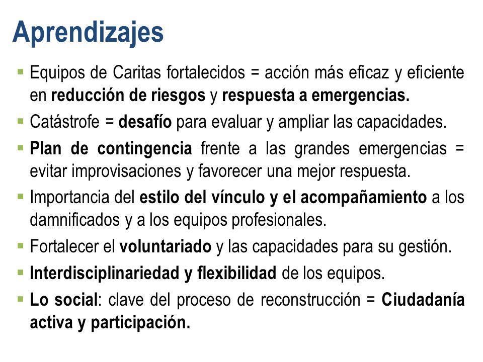 Equipos de Caritas fortalecidos = acción más eficaz y eficiente en reducción de riesgos y respuesta a emergencias. Catástrofe = desafío para evaluar y