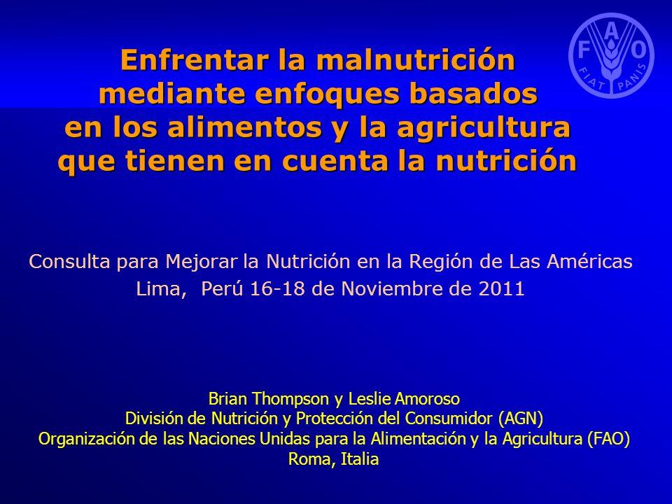Contenido El estado de la nutrición en el mundo Mandato y ventaja comparativa de la FAO en el ámbito de la nutrición La nutrición y los ODM El papel central de la agricultura en la mejora de la nutrición Naturaleza intersectorial de la nutrición Seguridad alimentaria y nutricional Enfoques basados en los alimentos y la agricultura que tienen en cuenta la nutrición Reducción del déficit nutricional y opciones de inversión para mejorar la diversidad de la dieta Mejora de la seguridad alimentaria y nutricional: política y respuestas prácticas de la FAO Pasos siguientes