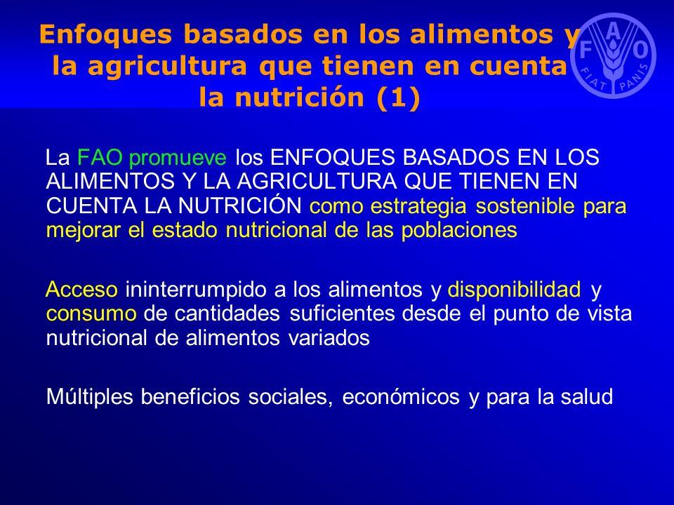 Enfoques basados en los alimentos y la agricultura que tienen en cuenta la nutrición (1) La FAO promueve los ENFOQUES BASADOS EN LOS ALIMENTOS Y LA AG