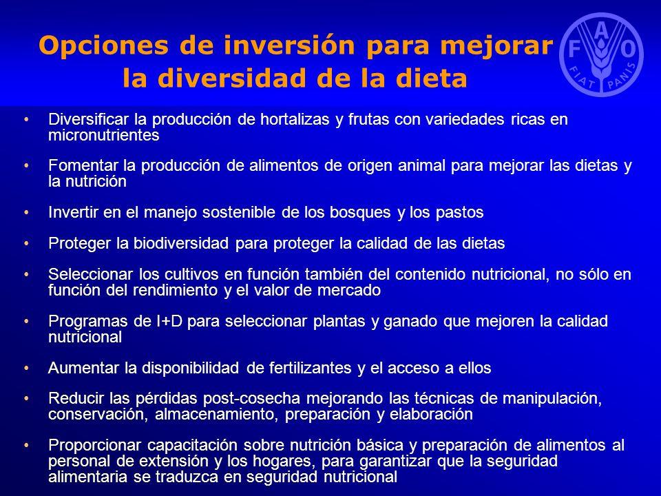 Opciones de inversión para mejorar la diversidad de la dieta Diversificar la producción de hortalizas y frutas con variedades ricas en micronutrientes
