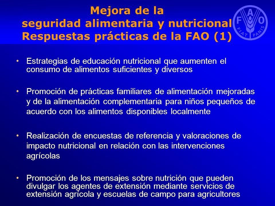 Mejora de la seguridad alimentaria y nutricional Respuestas prácticas de la FAO (1) Estrategias de educación nutricional que aumenten el consumo de al