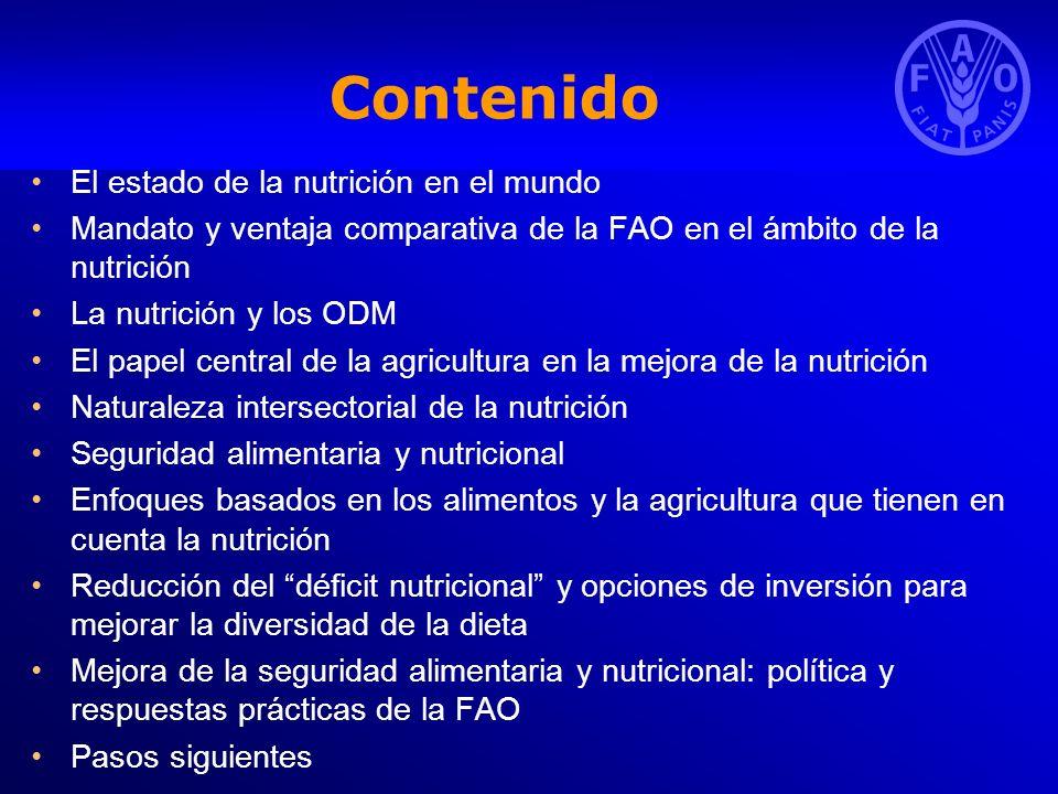 Contenido El estado de la nutrición en el mundo Mandato y ventaja comparativa de la FAO en el ámbito de la nutrición La nutrición y los ODM El papel c