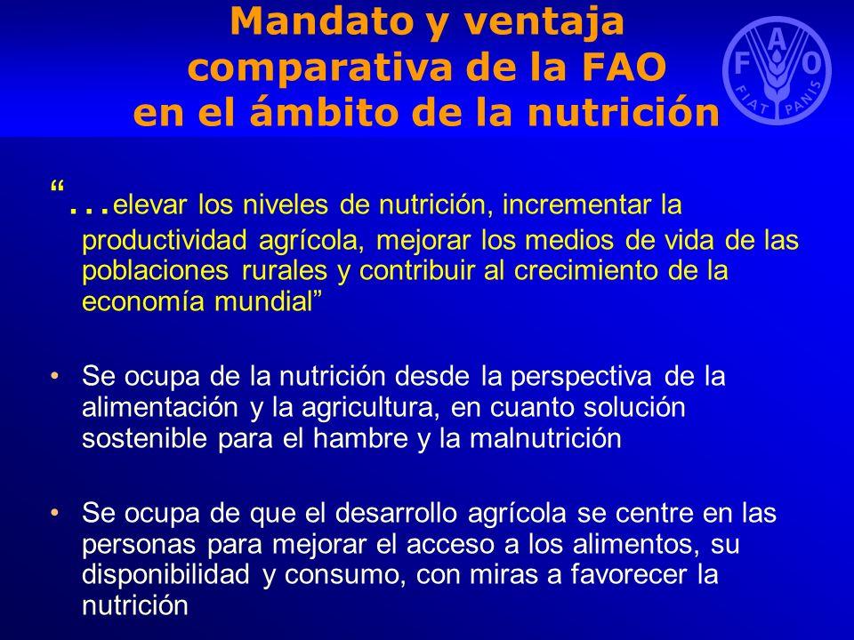 La nutrición y los ODM La nutrición contribuye de forma notable al logro de los ODM ODM 1: Erradicar la pobreza extrema y el hambre; 1.C.