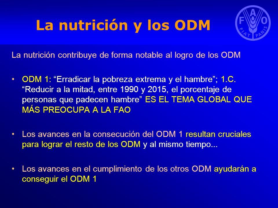 La nutrición y los ODM La nutrición contribuye de forma notable al logro de los ODM ODM 1: Erradicar la pobreza extrema y el hambre; 1.C. Reducir a la