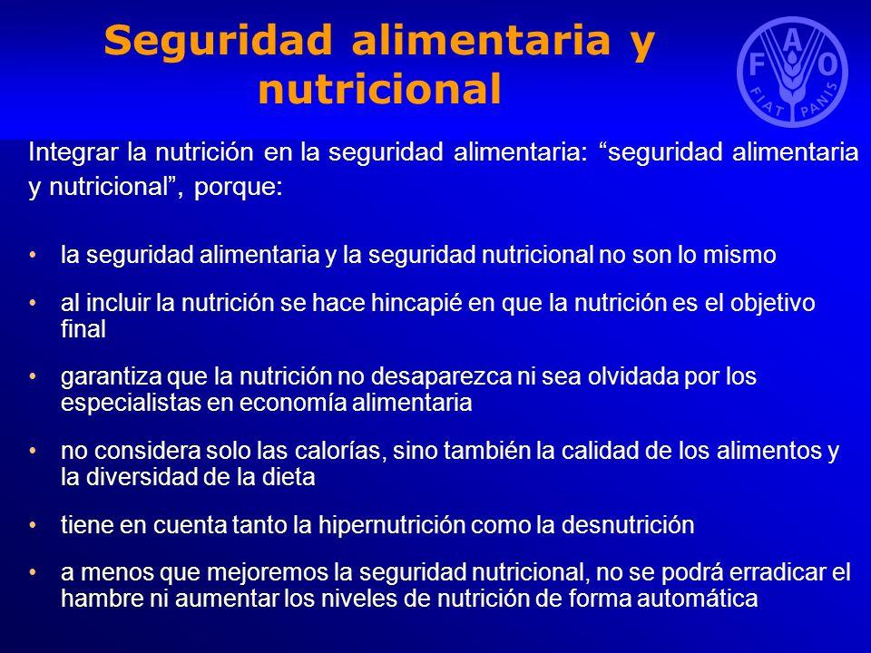 Enfoques basados en los alimentos y la agricultura que tienen en cuenta la nutrición (1) La FAO promueve los ENFOQUES BASADOS EN LOS ALIMENTOS Y LA AGRICULTURA QUE TIENEN EN CUENTA LA NUTRICIÓN como estrategia sostenible para mejorar el estado nutricional de las poblaciones Acceso ininterrumpido a los alimentos y disponibilidad y consumo de cantidades suficientes desde el punto de vista nutricional de alimentos variados Múltiples beneficios sociales, económicos y para la salud