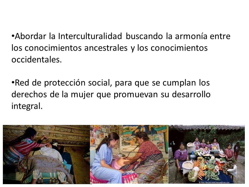 Abordar la Interculturalidad buscando la armonía entre los conocimientos ancestrales y los conocimientos occidentales. Red de protección social, para