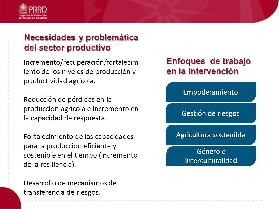 Necesidades y problemática del sector productivo Incremento/recuperación/fortalecim iento de los niveles de producción y productividad agrícola. Reduc