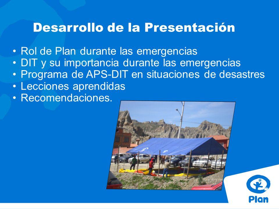 Desarrollo de la Presentación Rol de Plan durante las emergencias DIT y su importancia durante las emergencias Programa de APS-DIT en situaciones de desastres Lecciones aprendidas Recomendaciones.