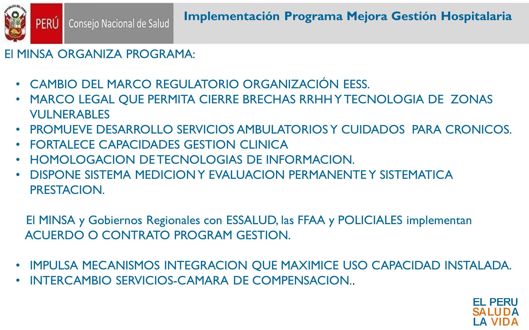 El MINSA ORGANIZA PROGRAMA: CAMBIO DEL MARCO REGULATORIO ORGANIZACIÓN EESS. MARCO LEGAL QUE PERMITA CIERRE BRECHAS RRHH Y TECNOLOGIA DE ZONAS VULNERAB