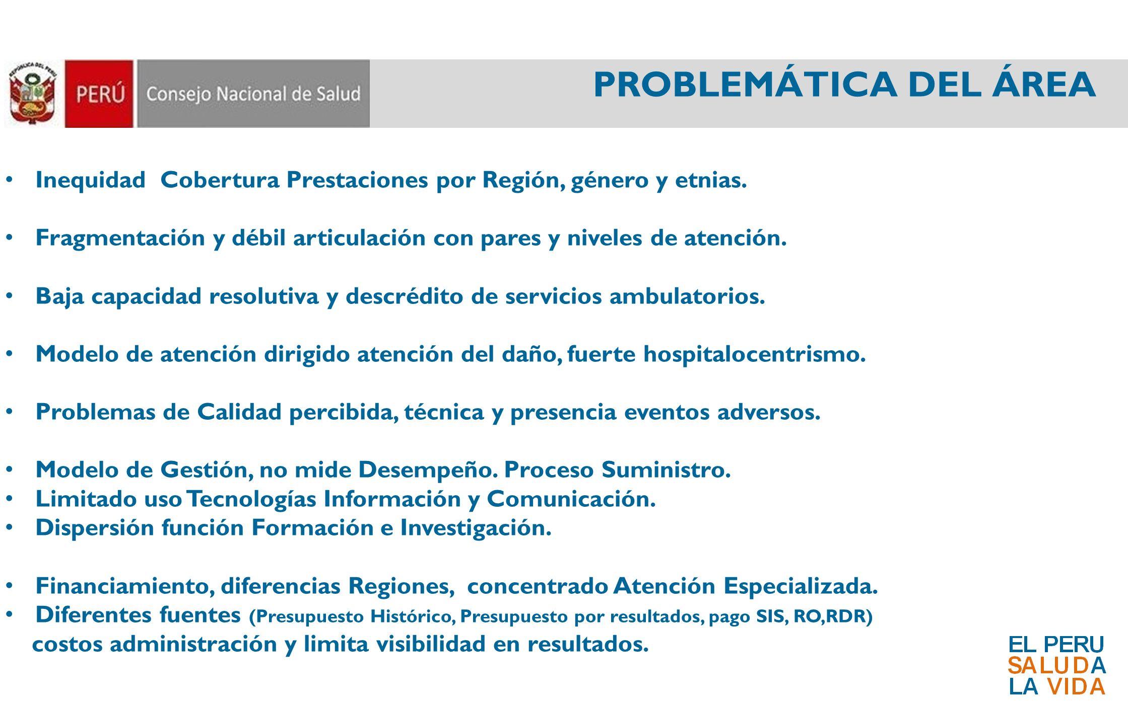 PROBLEMÁTICA DEL ÁREA Inequidad Cobertura Prestaciones por Región, género y etnias. Fragmentación y débil articulación con pares y niveles de atención