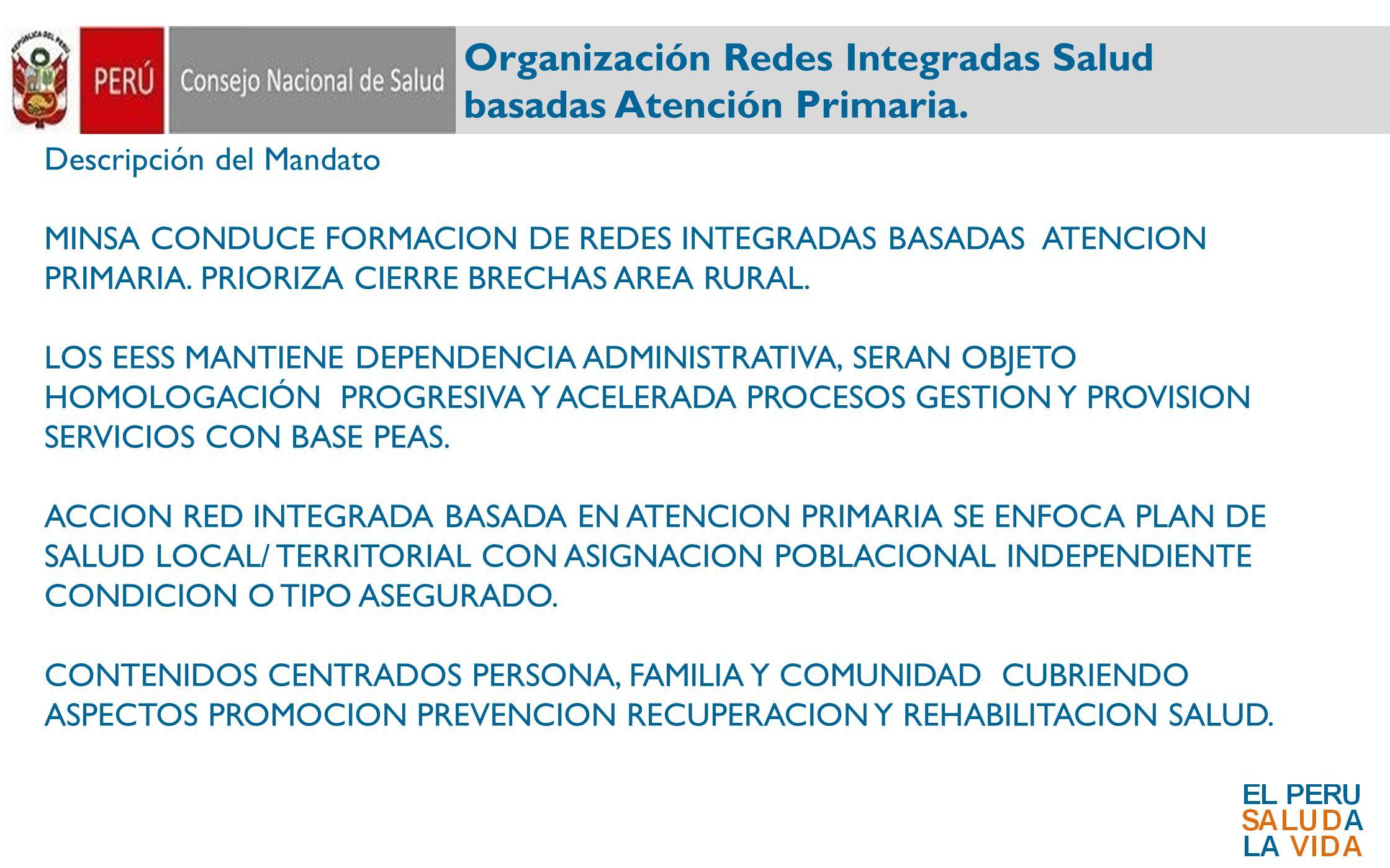 Organización Redes Integradas Salud basadas Atención Primaria. Descripción del Mandato MINSA CONDUCE FORMACION DE REDES INTEGRADAS BASADAS ATENCION PR