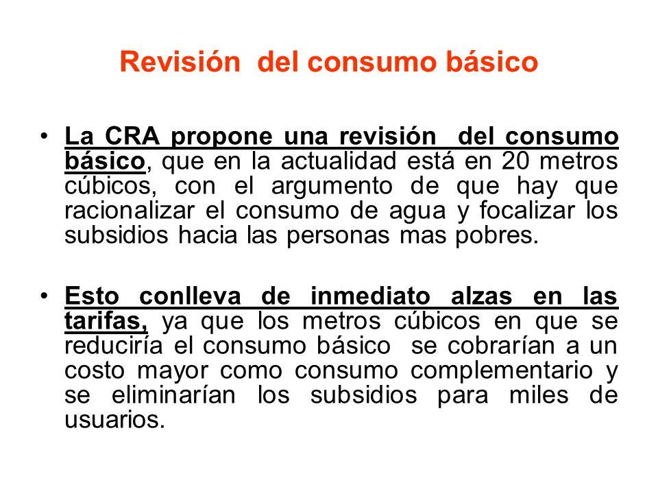 Revisión del consumo básico La CRA propone una revisión del consumo básico, que en la actualidad está en 20 metros cúbicos, con el argumento de que ha