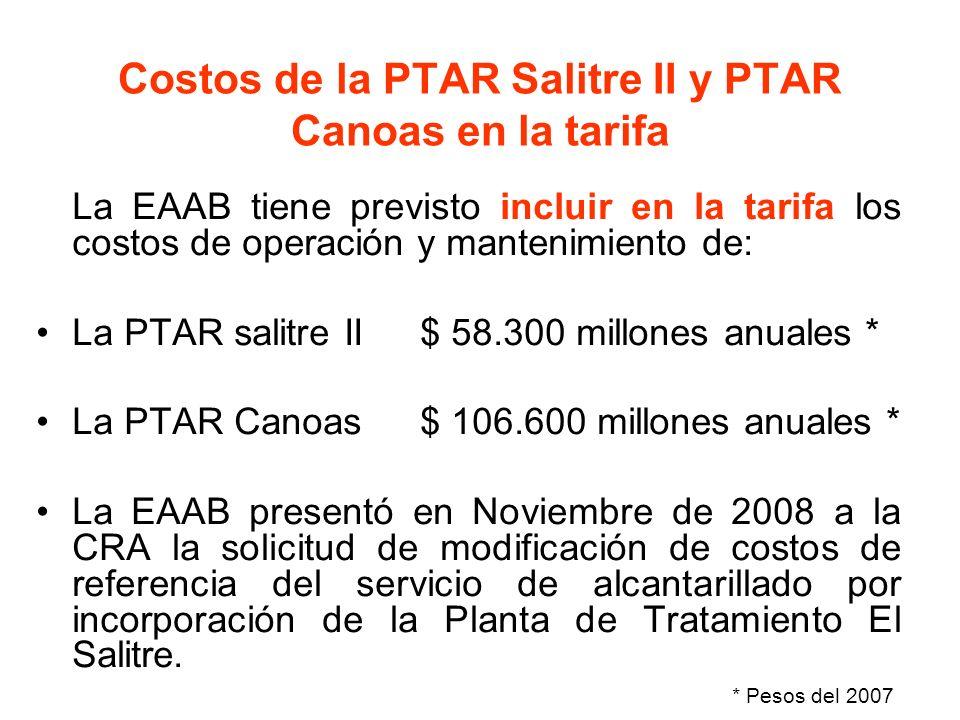 Costos de la PTAR Salitre II y PTAR Canoas en la tarifa La EAAB tiene previsto incluir en la tarifa los costos de operación y mantenimiento de: La PTA