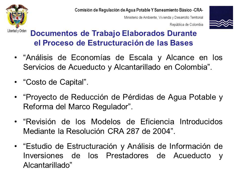 Comisión de Regulación de Agua Potable Y Saneamiento Básico -CRA- Ministerio de Ambiente, Vivienda y Desarrollo Territorial República de Colombia Anál