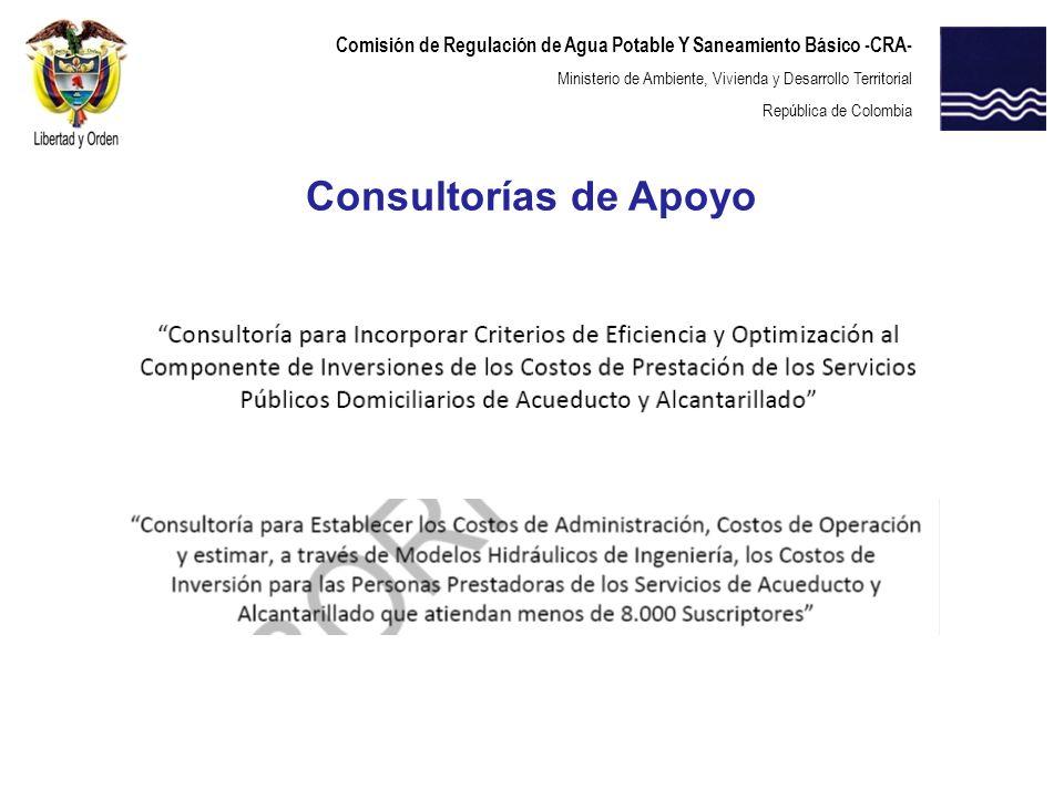 Comisión de Regulación de Agua Potable Y Saneamiento Básico -CRA- Ministerio de Ambiente, Vivienda y Desarrollo Territorial República de Colombia Cons