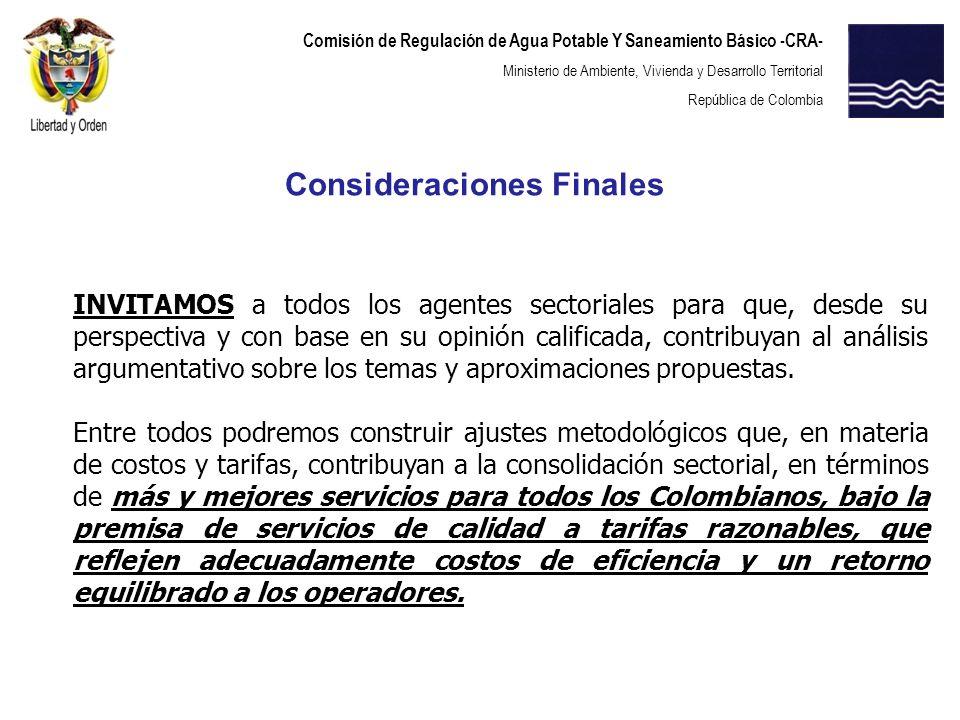 Comisión de Regulación de Agua Potable Y Saneamiento Básico -CRA- Ministerio de Ambiente, Vivienda y Desarrollo Territorial República de Colombia INVI