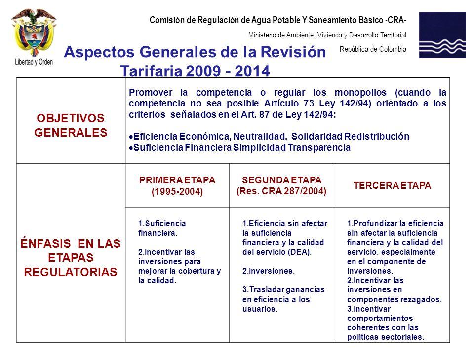 Comisión de Regulación de Agua Potable Y Saneamiento Básico -CRA- Ministerio de Ambiente, Vivienda y Desarrollo Territorial República de Colombia La presente revisión tarifaria quinquenal busca consolidar el criterio de eficiencia económica.