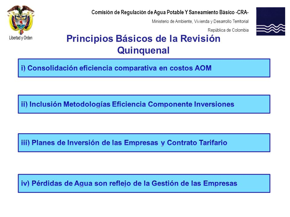 Comisión de Regulación de Agua Potable Y Saneamiento Básico -CRA- Ministerio de Ambiente, Vivienda y Desarrollo Territorial República de Colombia Prin