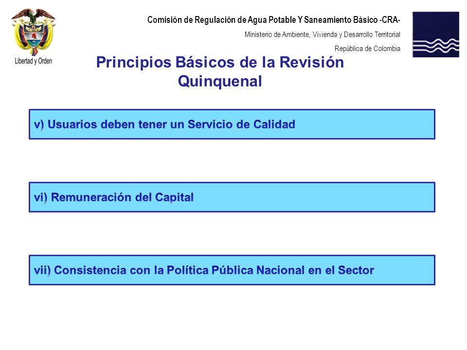Comisión de Regulación de Agua Potable Y Saneamiento Básico -CRA- Ministerio de Ambiente, Vivienda y Desarrollo Territorial República de Colombia Elementos de la Revisión de Costos LA CRA considera que los aspectos a tener en cuenta en la presente revisión quinquenal son los siguientes: