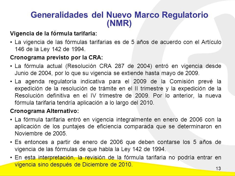 Generalidades del Nuevo Marco Regulatorio (NMR) Vigencia de la fórmula tarifaria: La vigencia de las fórmulas tarifarias es de 5 años de acuerdo con el Artículo 146 de la Ley 142 de 1994.