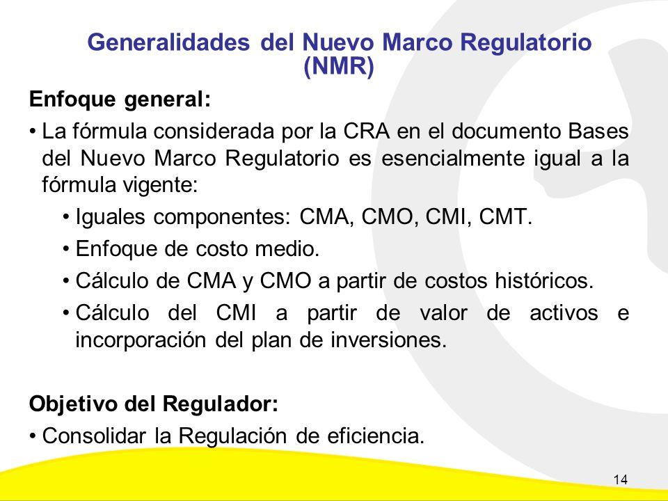 Generalidades del Nuevo Marco Regulatorio (NMR) Enfoque general: La fórmula considerada por la CRA en el documento Bases del Nuevo Marco Regulatorio es esencialmente igual a la fórmula vigente: Iguales componentes: CMA, CMO, CMI, CMT.