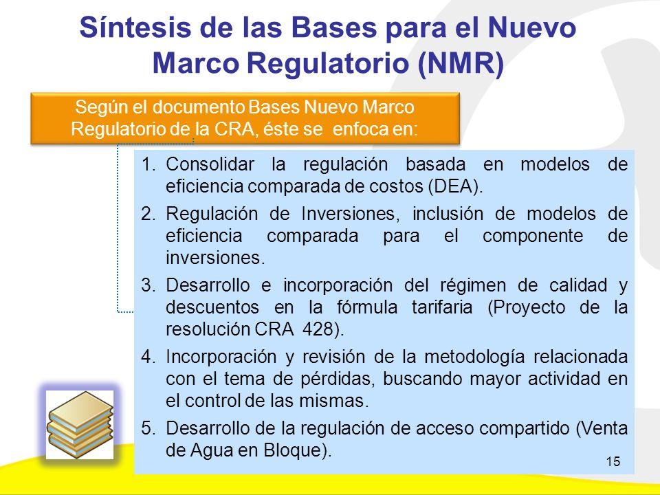 1.Consolidar la regulación basada en modelos de eficiencia comparada de costos (DEA).