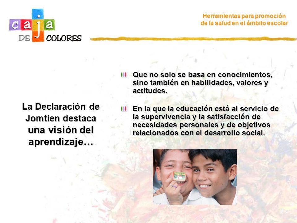 Relaciones entre la promoción de la salud en el ámbito escolar y la calidad de la educación (1) Herramientas para promoción de la salud en el ámbito escolar Hay consenso internacional en que para avanzar en la Educación para Todos, no basta con ampliar la cobertura de los sistemas educativos en los países.